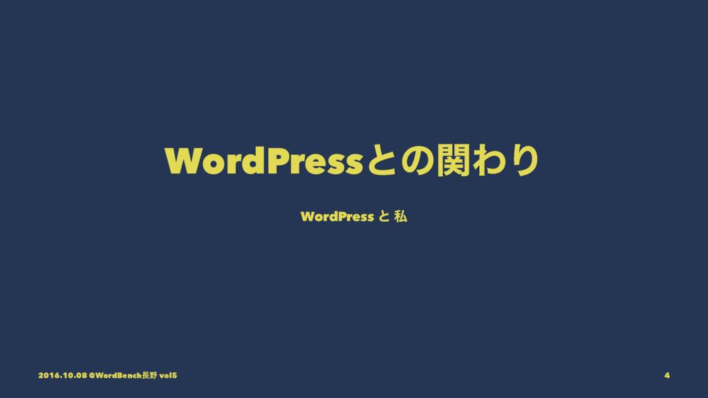 WordPressͱͷؔΘΓ WordPress ͱ ࢲ 2016.10.08 @WordBe...