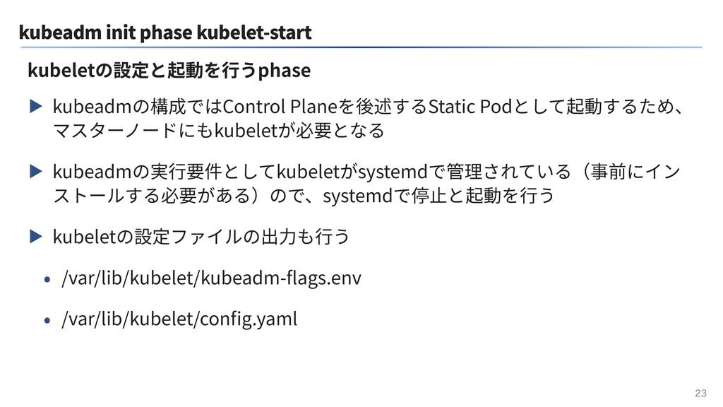 kubeadm init phase kubelet-start ▶ kubeadmの構成では...