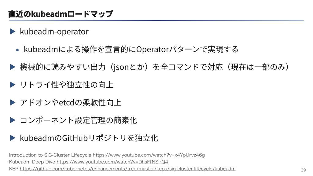 直近のkubeadmロードマップ ▶ kubeadm-operator • kubeadmによ...