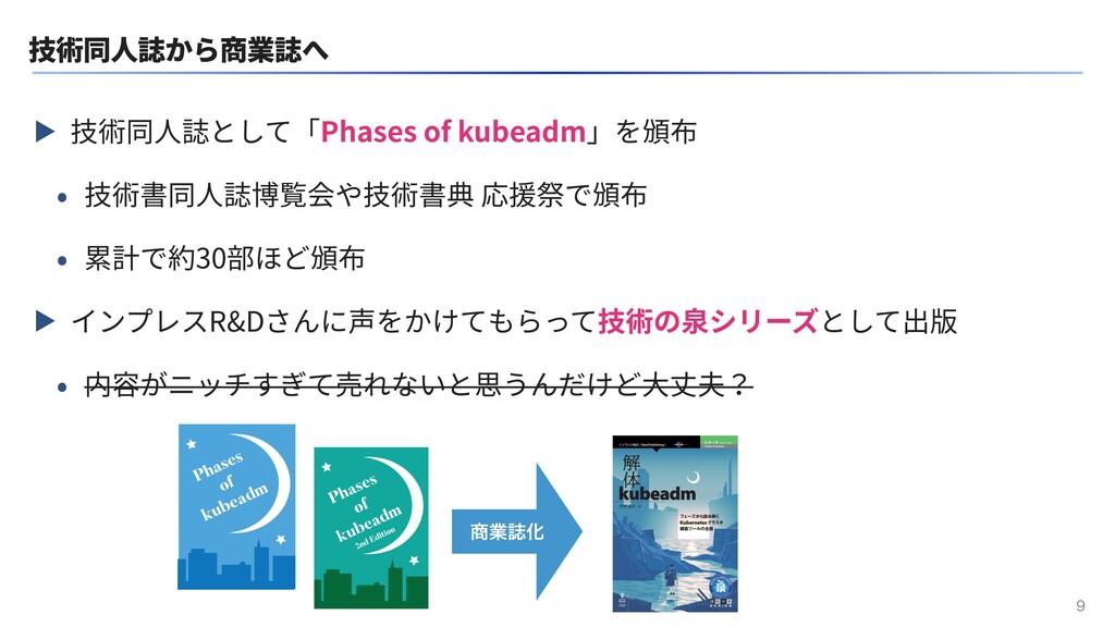 技術同⼈誌から商業誌へ ▶ 技術同⼈誌として「Phases of kubeadm」を頒布 • ...