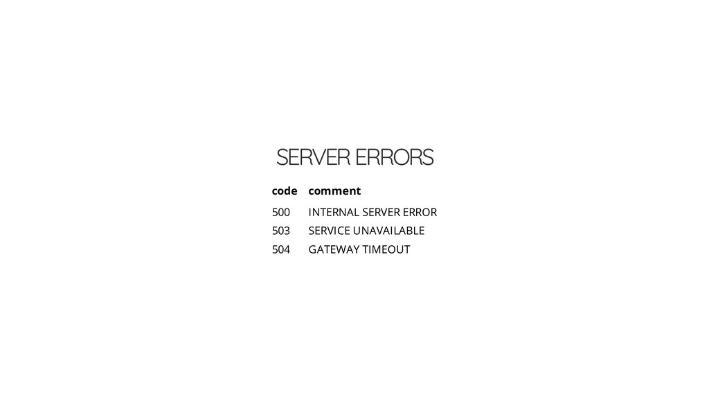 SERVER ERRORS code comment 500 INTERNAL SERVER ...