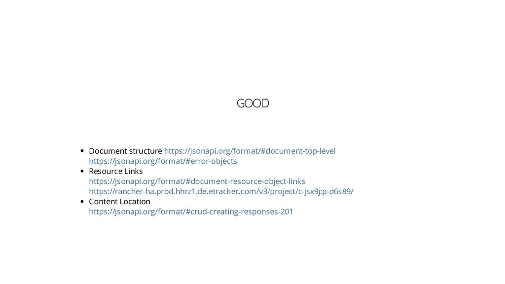 GOOD Document structure Resource Links Content ...