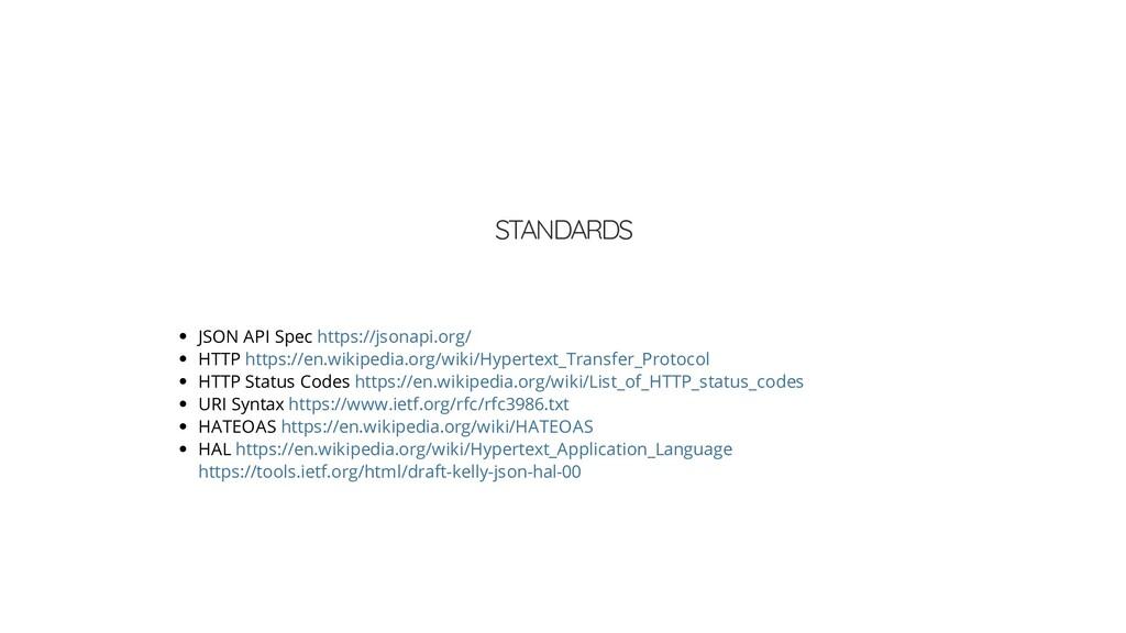 STANDARDS JSON API Spec HTTP HTTP Status Codes ...