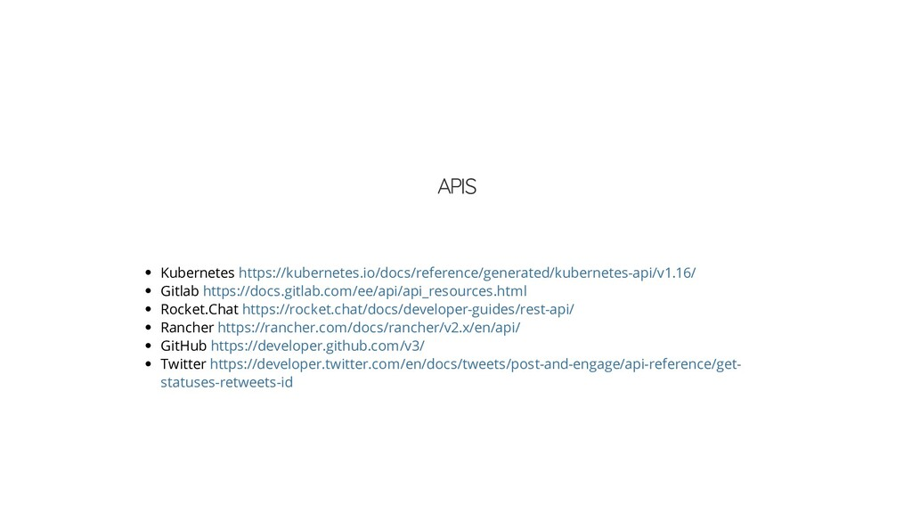 APIS Kubernetes Gitlab Rocket.Chat Rancher GitH...