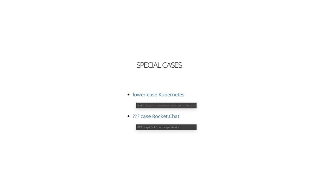 SPECIAL CASES lower-case Kubernetes POST /api/v...