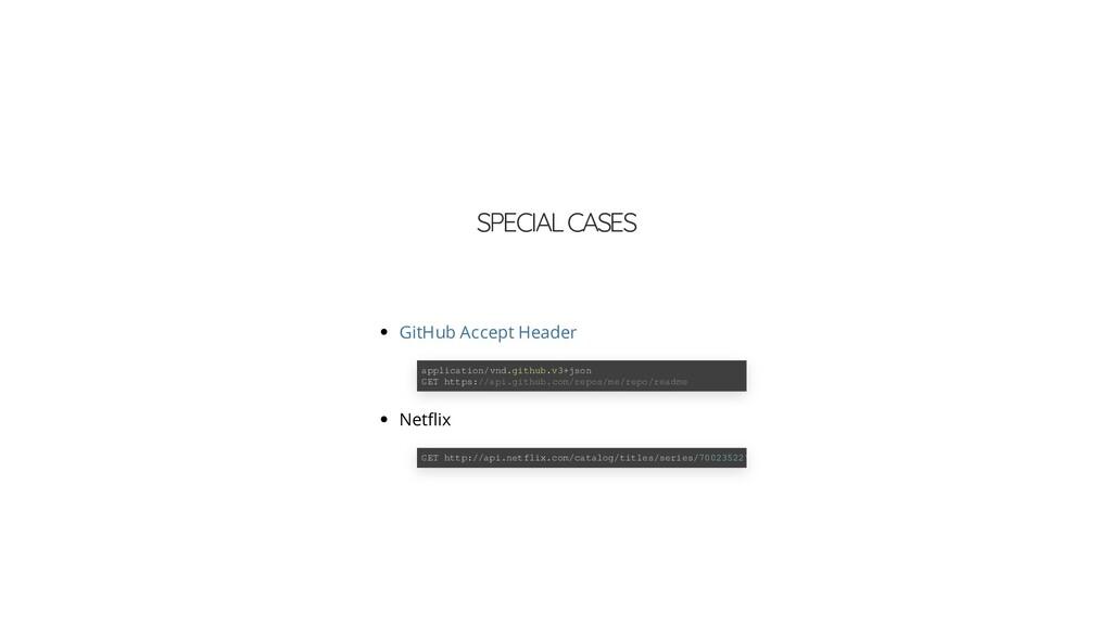SPECIAL CASES Net ix GitHub Accept Header appli...