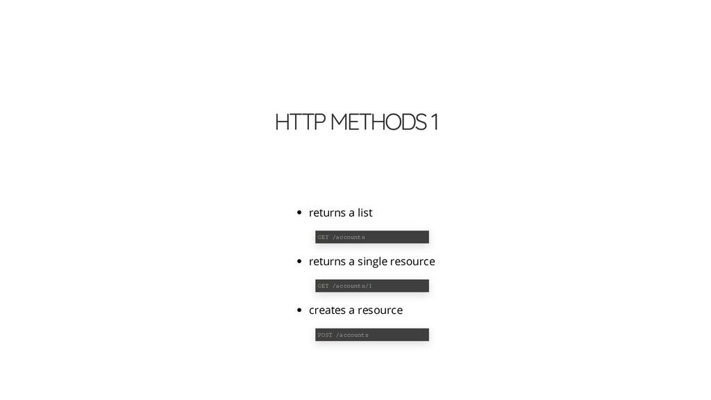 HTTP METHODS 1 returns a list returns a single ...