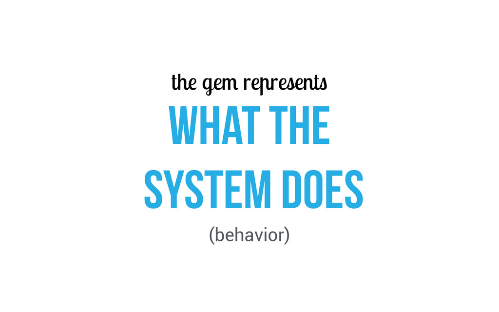 the gem represents WHAT THE SYSTEM Does (behavi...
