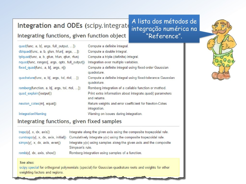 """A lista dos métodos de integração numérica na """"..."""