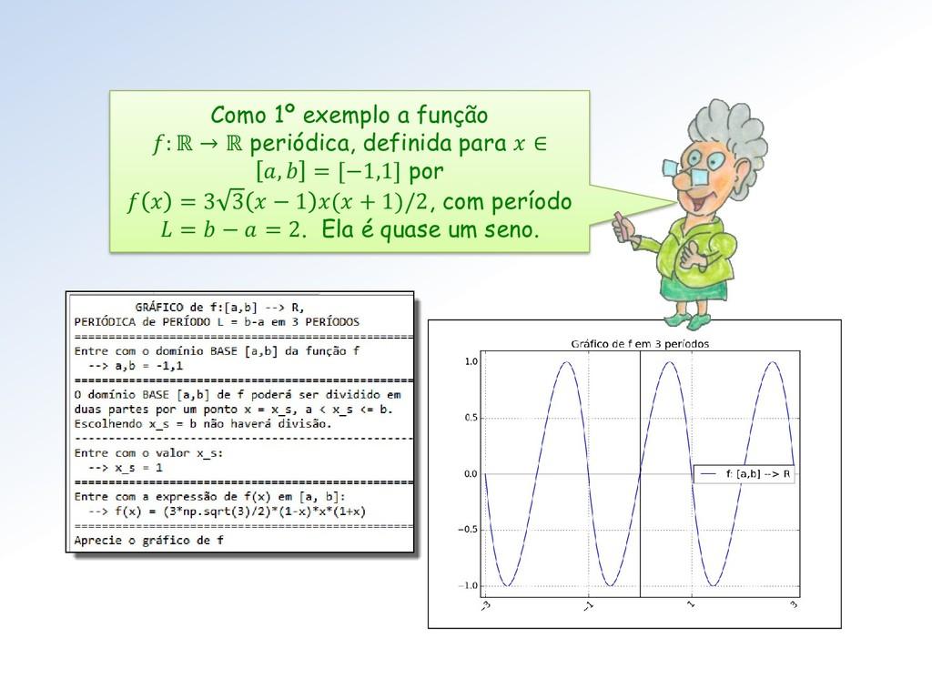 Como 1º exemplo a função : ℝ → ℝ periódica, def...