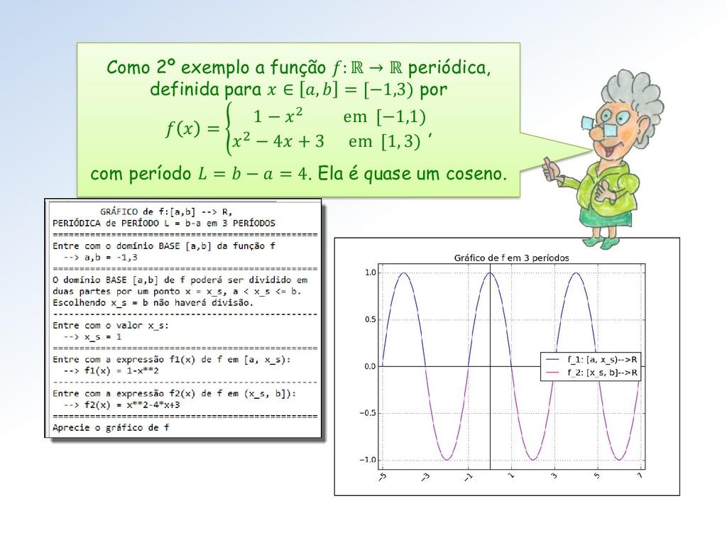 Como 2º exemplo a função : ℝ → ℝ periódica, def...