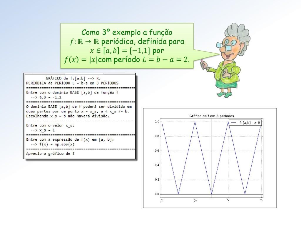 Como 3º exemplo a função : ℝ → ℝ periódica, def...