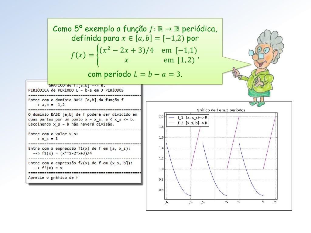 Como 5º exemplo a função : ℝ → ℝ periódica, def...