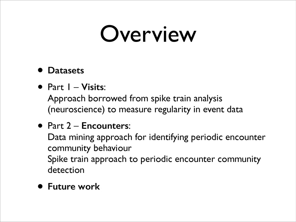 Overview • Datasets • Part 1 – Visits: 