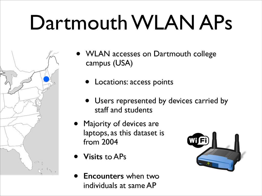 Dartmouth WLAN APs • WLAN accesses on Dartmouth...