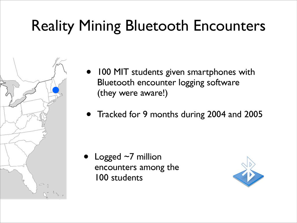 Reality Mining Bluetooth Encounters • 100 MIT s...