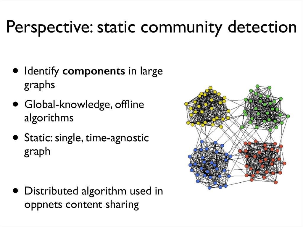 Perspective: static community detection • Ident...