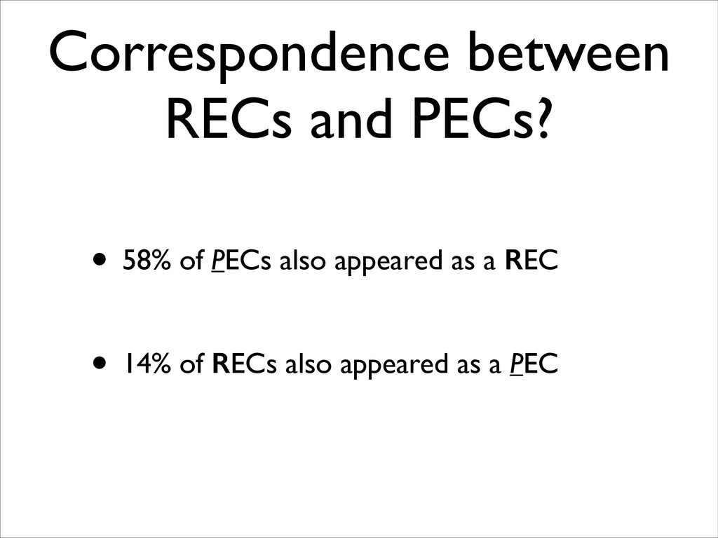 Correspondence between RECs and PECs? • 58% of ...