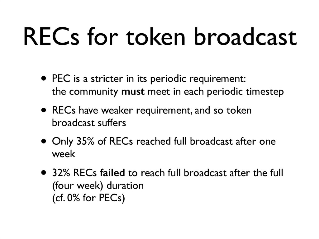 RECs for token broadcast • PEC is a stricter in...