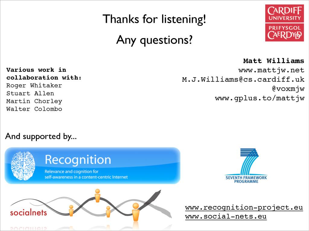 Thanks for listening! Any questions? Matt Willi...
