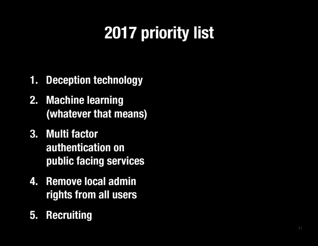 41 2017 priority list 1. Deception technolog...