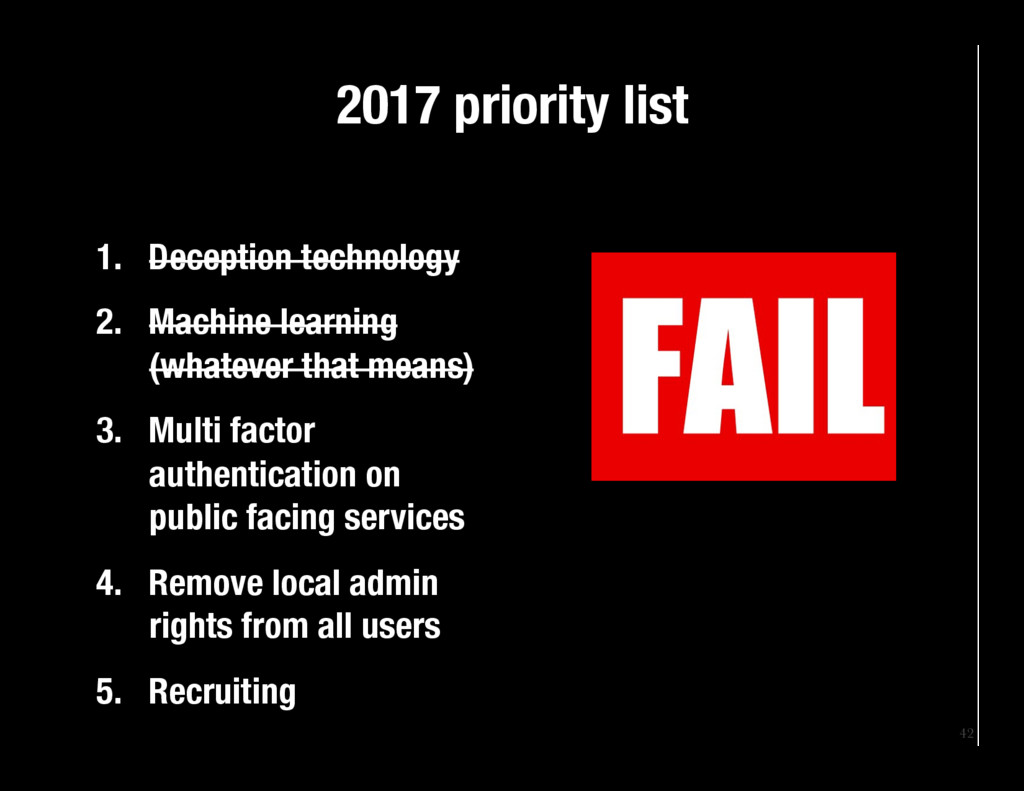 42 2017 priority list 1. Deception technolog...