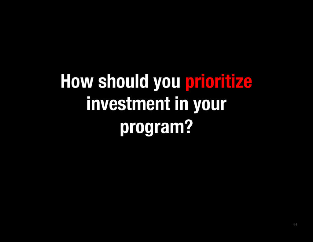 44 How should you prioritize investment in you...