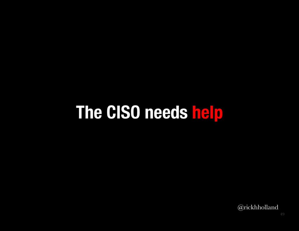 49 The CISO needs help  @rickhholland