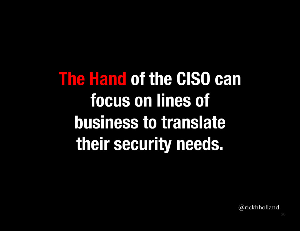 58 The Hand of the CISO can focus on lines of ...