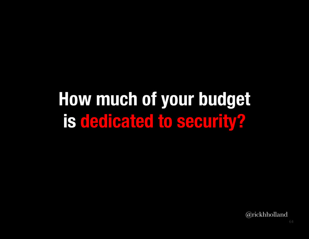 64 How much of your budget is dedicated to sec...