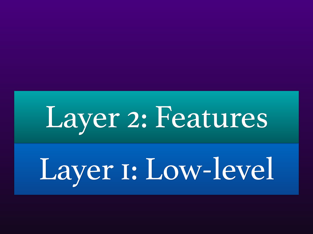Layer 1: Low-level Layer 2: Features