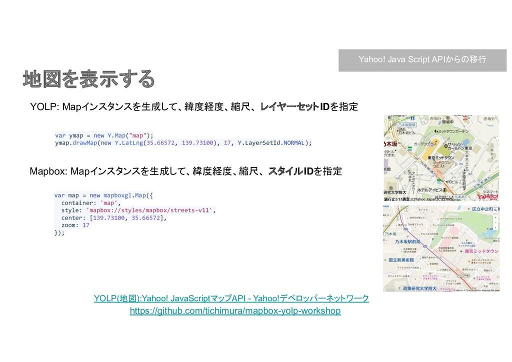 地図を表示する YOLP(地図):Yahoo! JavaScriptマップAPI - Yaho...