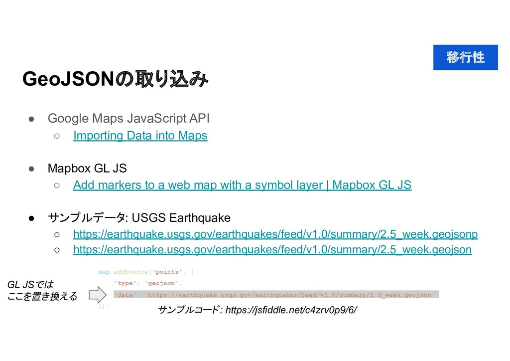 GeoJSON 取り込み ● Google Maps JavaScript API ○ Imp...