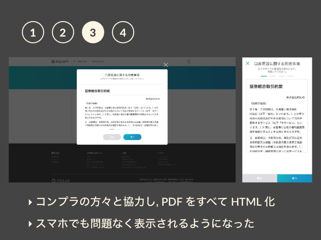 ‣ ίϯϓϥͷํʑͱڠྗ͠, PDF Λͯ͢ HTML Խ ‣ εϚϗͰͳ͘දࣔ͞ΕΔ...