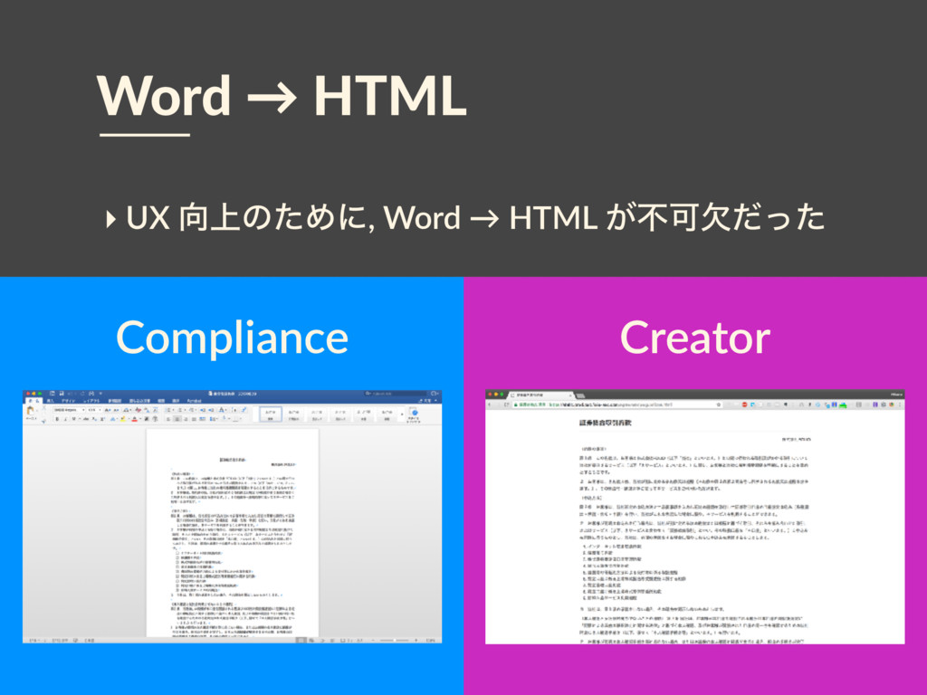 Word → HTML Creator Compliance ‣ UX ্ͷͨΊʹ, Wor...