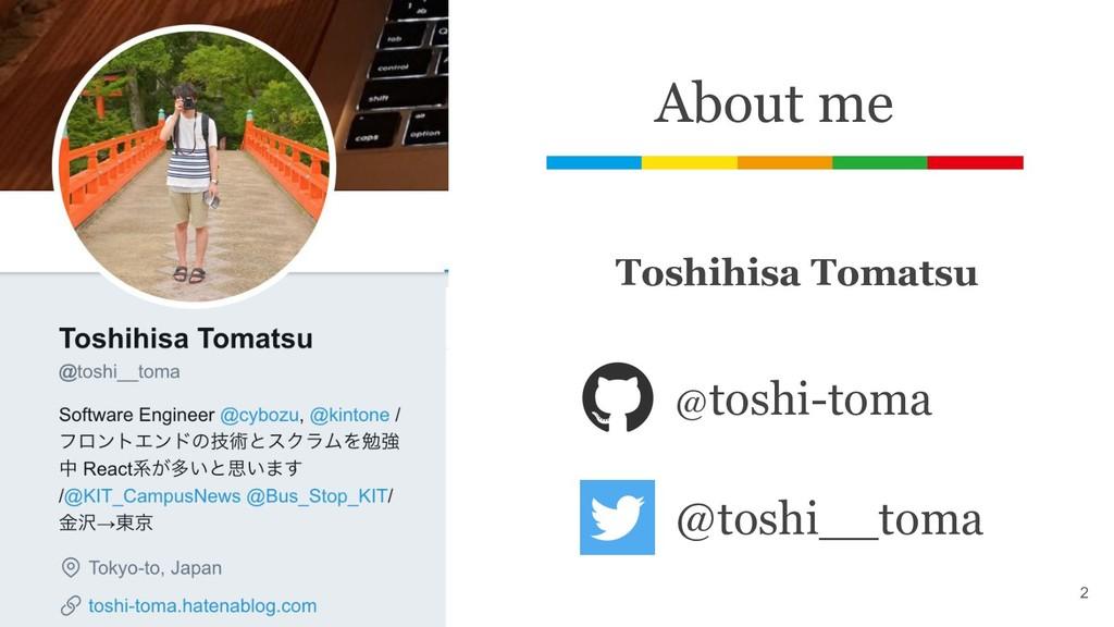 About me @toshi-toma @toshi__toma Toshihisa Tom...
