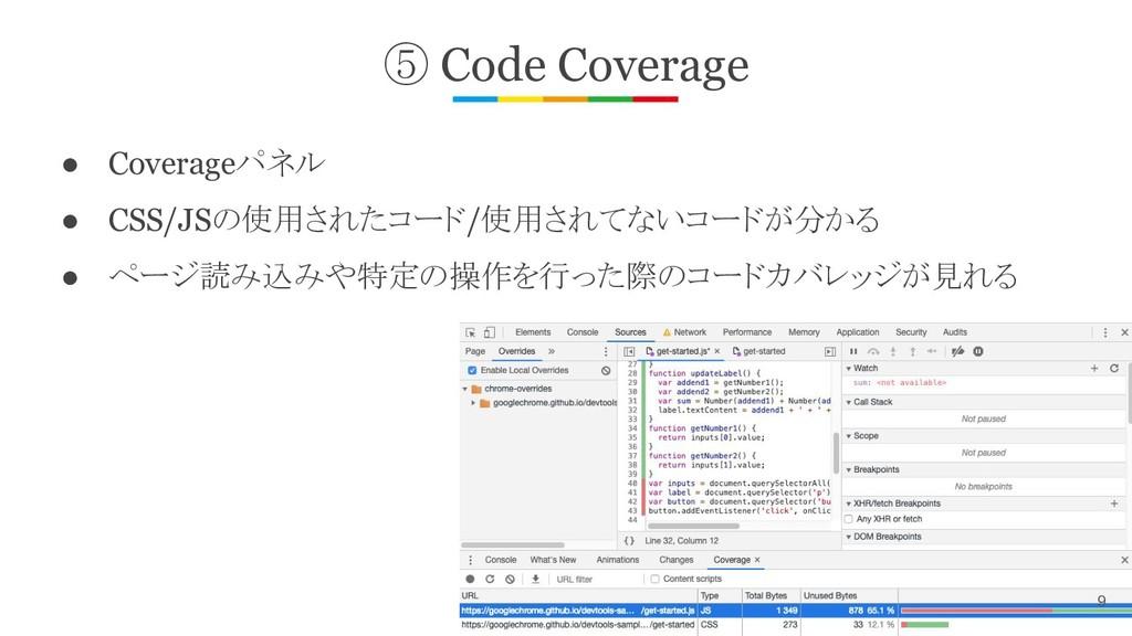⑤ Code Coverage ● Coverageパネル ● CSS/JSの使用されたコード...