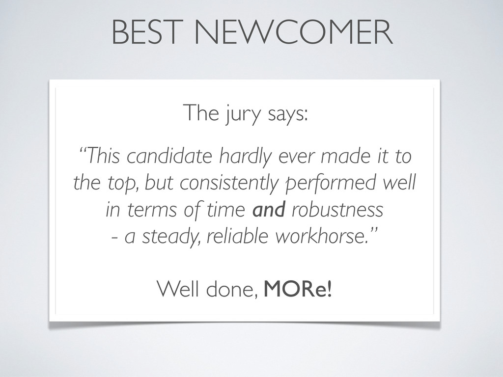 "BEST NEWCOMER The jury says: ""This candidate ha..."