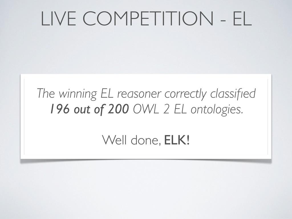 LIVE COMPETITION - EL The winning EL reasoner c...