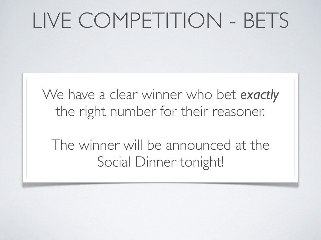 LIVE COMPETITION - BETS We have a clear winner ...