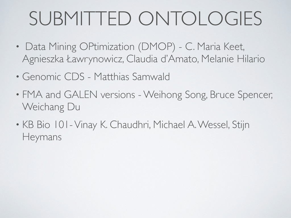 SUBMITTED ONTOLOGIES • Data Mining OPtimization...