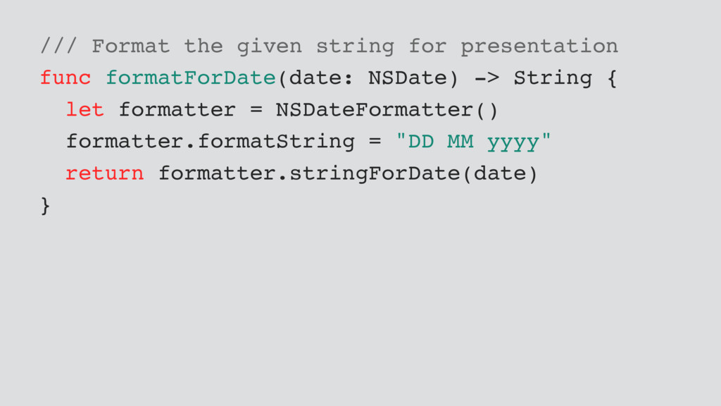 /// Format the given string for presentation fu...