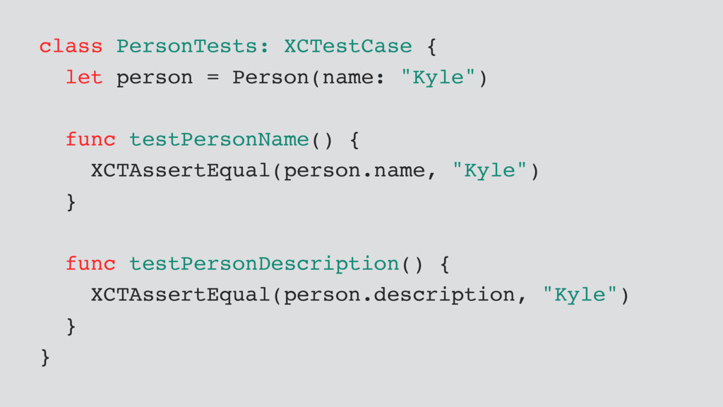 class PersonTests: XCTestCase { let person = Pe...