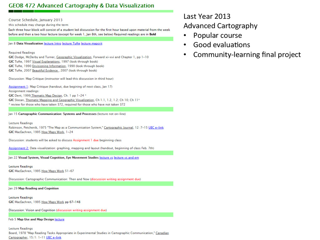 Last Year 2013  Advanced Cartograph...