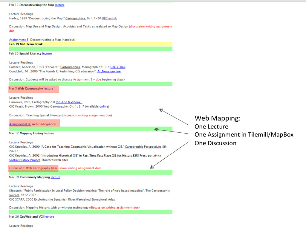 Web Mapping:  One Lecture  One A...