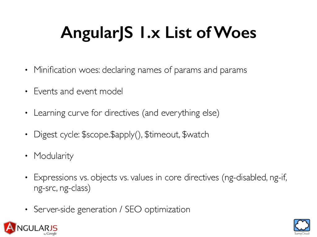 SunnyCloud AngularJS 1.x List of Woes • Minifica...