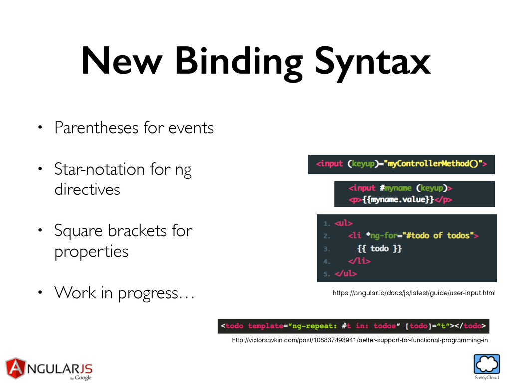 SunnyCloud New Binding Syntax • Parentheses for...