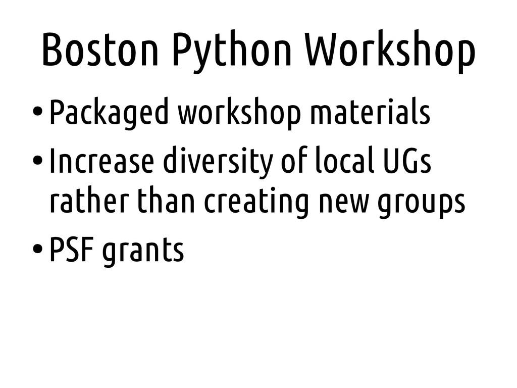 Boston Python Workshop ● Packaged workshop mate...