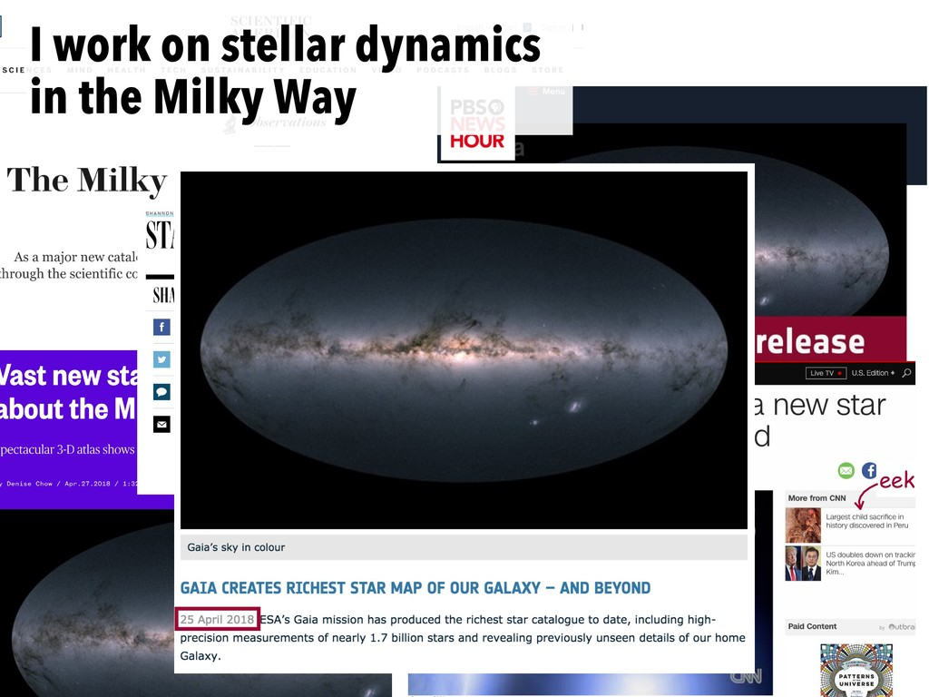 eek I work on stellar dynamics in the Milky Way