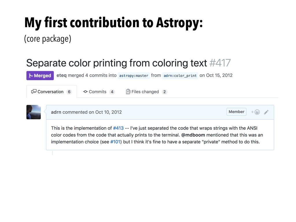 My first contribution to Astropy: (core package)